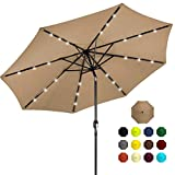 Best Choice Products 10ft Solar Powered Aluminum Polyester LED Lighted Patio Umbrella w/Tilt Adjustment and UV-Resistant Fabric, Tan