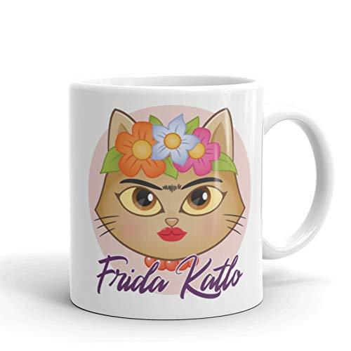 Okemaku Taza con Mensaje 'Frida Katlo' Parodia Frida Kahlo Catlo - 350ml cerámica Regalo Friki para Amigos Desayuno Original Divertido - Taza con Frases Artista Viva la Vida