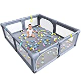 Baby Playpen, Extra Large Play Yard, Indoor & Outdoor Kids Safety Activity Center with Gate & Anti-Slip Rubber Bases, Big Safety Sturdiness Babys Fences for Babies, Infant, Toddler, Childs (Grey)