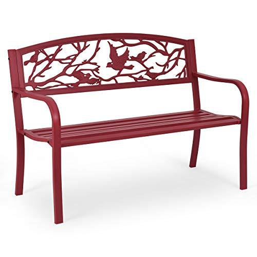 COSTWAY Gartenbank Parkbank Eisenbank Gartenmöbel Stahlrahmen, Ruhebank mit Rückenlehnen, Sitzbank aus Gusseisen, Metallbank (Rot)