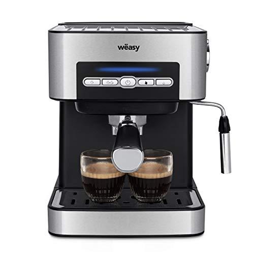 Wëasy Machine à café Expresso en Inox KFX32, 20 Bars de pression, Mode Automatique et Manuel, Sortie double, 4 modes, Réservoir 1.6L, Plateau chauffe-tasses, Buse Vapeur pour boissons lactée