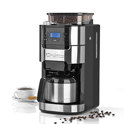 Barista Filterkaffeemaschine mit Mahlwerk mit Thermokanne | Inkl. Thermo-Kanne für bis zu 10 große Tassen Kaffee | Für Kaffeebohnen und Kaffeepulver [Edelstahl ]