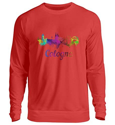 DiSzy Cologne - Maglione unisex colorato con skyline di Colonia rosso fuoco L