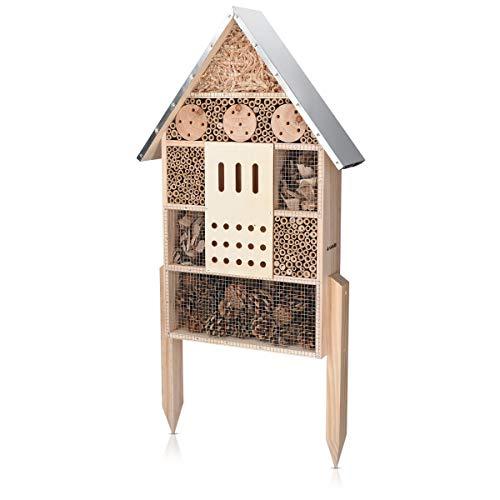 Navaris Insektenhotel aus Holz - Naturbelassenes Insekten Hotel für Verschiedene Fluginsekten - mit Standfüßen