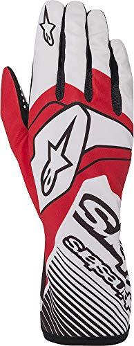 Alpinestars Tech-1 K Race v2 - Guantes de karting para hombre, color blanco/rojo, 2XL