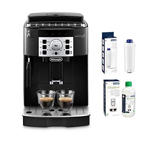 De'Longhi Magnifica S ECAM 22.110.B Kaffeevollautomat mit Milchaufschäumdüse, Direktwahltasten, 2-Tassen-Funktion & 1,8 l Wassertank, inkl. Wasserfilter DLSC002 & EcoDecalk Entkalker, schwarz/silber