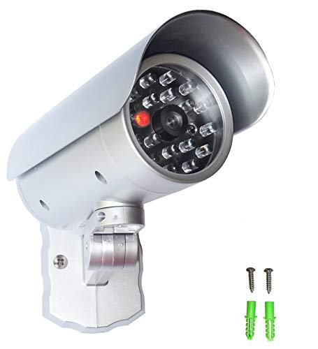 Dummy - Telecamera di sorveglianza finta con luce LED rossa, sensore di movimento in alloggiamento resistente alle intemperie, telecamera di sicurezza Fake CCTV per interni ed esterni