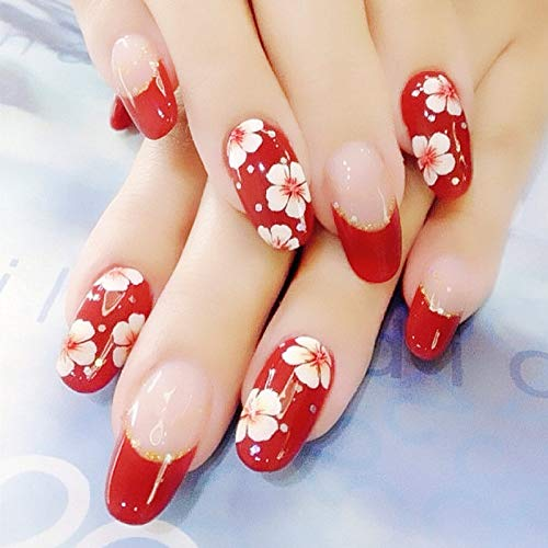 24 PCS Set Red Sakura Cherry Blossom Printing Press On Nails Christmas Red False Nails Fake Nails with Glue and Adhesive Tab