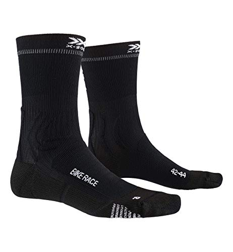 X-Socks Bike Race, Calzini da Ciclismo Unisex-Adulto, Opal Black/Eat Dust, 42-44