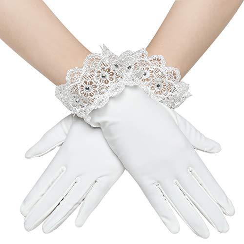 Coucoland - Guanti da sposa decorati con pizzo, da donna, corti, in raso bianco Taglia unica