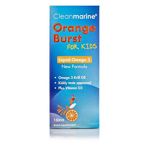 Cleanmarine Krill Oil for Kids Liquid Omega 3 - Orange Burst 150ml