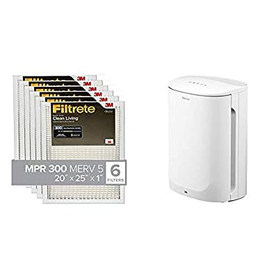 Contains: Filtrete Small/Medium Air Purifier and Filtrete 20x25x1, AC Furnace Air Filter, MPR 300, Clean Living Basic Dust, 6-Pack Filtrete Air Purifier: Includes a True HEPA Filter that captures 99. 97% of airborne particles you can't see (As small ...