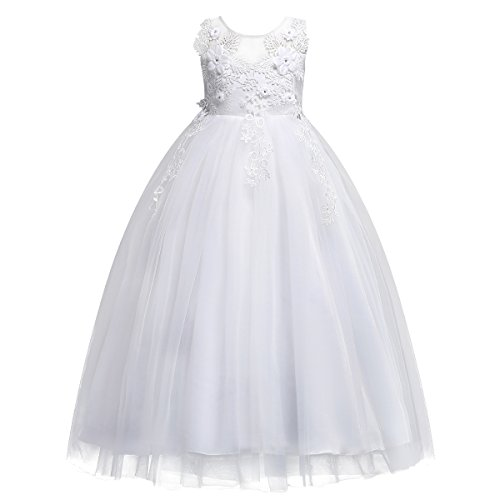 Bridesmaid Pageant Flower Princess Wedding Formal Prom Floor Long Tulle American Girl Dresses Dance Evening Maxi Gown White 5-6 Years