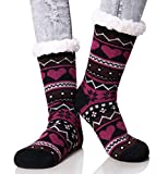 Dosoni Women's Winter Snowflake Fleece Lining Knit Thick Warm Christmas Slipper Socks (Black)
