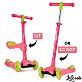 Lascoota 2-in-1 Kick Scooter with Removable Seat Great for Kids & Toddlers Girls or Boys – Adjustable Height w/Extra-Wide Deck PU Flashing Wheels for Children from 2-14 Years Old (Watermelon)