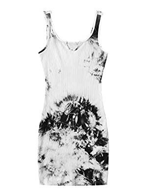 Fabric: Cotton and Spandex, stretchy and soft Design: This tank dress feature with tie dye, notch neck, sleeveless, above knee length Occasion: Suit for party, cocktail, club, nightout, evening, prom, wedding and bar This dress can perfectly show you...