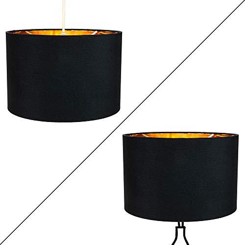 """Contemporain en coton noir 10""""table/suspension abat-jour avec intérieur doré brillant par Happy Homewares"""