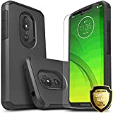 Revvlry Case,(T-Mobile) Moto G7 Play Case, [Not fit Revvlry +] Included [Tempered Glass Screen Protector], STARSHOP Drop Protection Dual Layers Impact Rugged Protective Phone Cover-Black