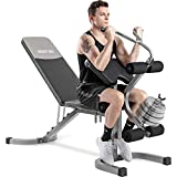 Merax Utility Weight Bench with Leg Extension for Full Body Workout, 550LBS Weightlifting and Strength Training Workout Bench with Adjustable Flat Incline Decline 6+3 Positions for Home Gym