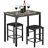 kealive Dining Table Set for 2 Chair Kitchen Dining Room Marble Rectangular Breakfast Table and Chair Set with PU Padded seat Metal Frame, Brown