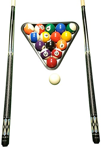 John West Profi Billard Set - Kugeln + Triangel + 2 Profi Queues JW-3