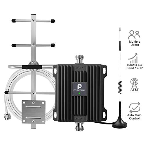 AT&T 4G LTE Cell Phone Signal Booster for Home and Office - 65dB 700MHz Band 12/17 Cellular Repeater w/Omni/Yagi Antennas Boosts Mobile Phone 4G LTE Data & Volte(Voice Over 4G) Signal