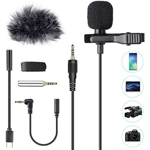 AGPTEK Lavaier Microfono per PC Smartphone con Clip e Un Parabrezza Incluso Adattatore Tipo-c Microfono Esterno Trust Ideale per Youtuber Intervista Conferenza Video Camera Podcast Cavo da 2M