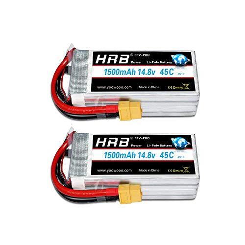 HRB Lipo Batteria 14.8V 4S 1500mAh 45C Lipo con Spina XT60 per RC Mini Racing Drone FPV Quadcopter,...