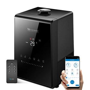 Proscenic 807C Humidifiers, with App Control, Warm and Cool Mist, Customized Humidity, 7 Adjustable, Baby Mode, 5.5L Large Capacity Vaporizer for Bedroom, Black