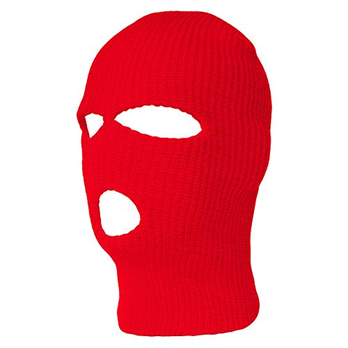 TopHeadwear 3-Hole Ski Face Mask Balaclava, Red