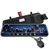 BeAngel 10 Inch Touch Screen Car Camera 10' Rearview Mirror FHD 1080P Dash DVR Cam Backup Camera Night Vision Front and Rear Dual Lens Video Recorder Reversing