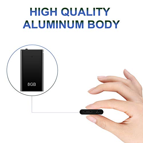 Voice Recorder, Mini Voice Activated Recorder, 8GB Memory Audio Recorders, Recording Device w/USB Rechargeable and MP3 Functions, Ideal for Lectures, Meetings, Interviews, Up to 96 Hours