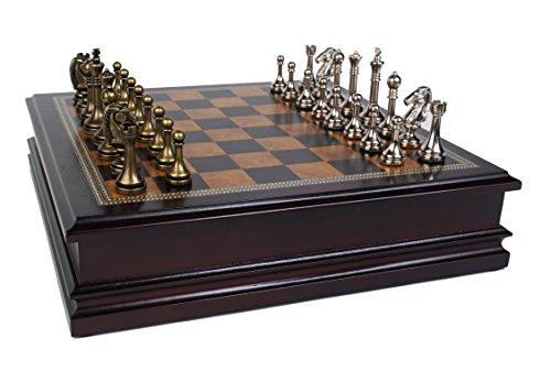 Classic Game Collection Juego de ajedrez de Metal con Tablero de Madera de Lujo y Almacenamiento – 6,35 cm King