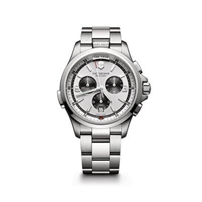 Victorinox Men's Night Vision Titanium Swiss-Quartz Watch with Stainless-Steel Strap, Silver, 21 (Model: 241728)