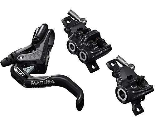 Magura Fahrradbremse MT Trail Sport 1-Finger HC-Hebel Links/rechts verwendbar Set bestehend aus Zwei Bremsen für Vorderrad 4 und Hinterrad 2 Kolben, schwarz, One Size, 2701389