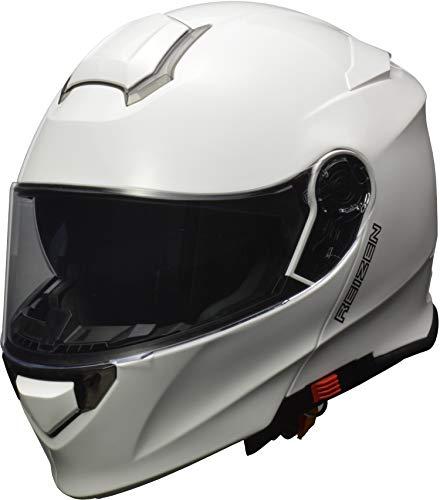 リード工業(LEAD) バイク用 インナーシールド付き システムヘルメット REIZEN (レイゼン) ホワイト Lサイズ (59-60cm未満)