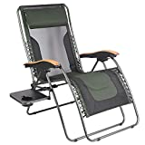PORTAL Oversized Mesh Back Zero Gravity Reclining Patio Chairs, XL Padded Seat Folding Patio Lounge Chair with Adjustable Pillows and Cup Holder for Poolside Backyard/lawn, Support 350lbs (Dark Green)