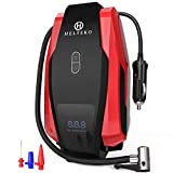Helteko Portable Air Compressor Pump 150PSI 12V - Digital Tire Inflator - Auto Tire Pump with Emergency Led Lighting and Long Cable for Car - Bicycle - Motorcycle - Basketball and other