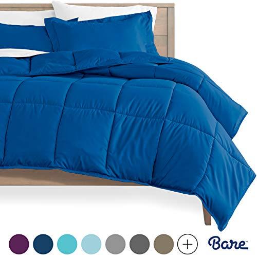 Bare Home Kids Comforter Set - Twin/Twin Extra Long - Goose Down Alternative - Ultra-Soft - Premium 1800 Series - Hypoallergenic - All Season Breathable Warmth (Twin/Twin XL, Medium Blue)
