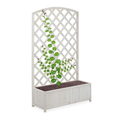 Relaxdays, weiß Rankkasten mit Rankgitter, Holz, Balkon, Garten, 59l Pflanzenkübel, Rankhilfe hoch, 152,5 x 89,5 x 35 cm