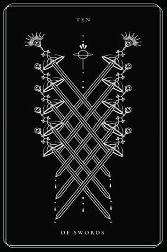 Ten of Swords: Black and White Tarot Card, Tarot Card...