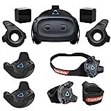 HTC Vive Cosmos Elite VR Headset - Bundle with 2 Pack Vive Tracker for VR Headset, Rebuff Reality TrackBelt + 2 TrackStraps Full Body Tracking VR Bundle, Black