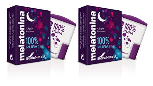 Soria Natural - Melatonina - Complemento alimenticio - Regulacion del sueño, insomnio - 90 comprimidos - Jet-lag - Antiedad (PACK2)