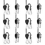 6 Pairs 1/8 inch Adjustable Heavy Duty Rope Hanger - Reinforced Metal Internal Gears Ratchets foe Growing Light Fixtures, Loose-Proof Design, 8-ft Long & 150lbs Weight Capacity