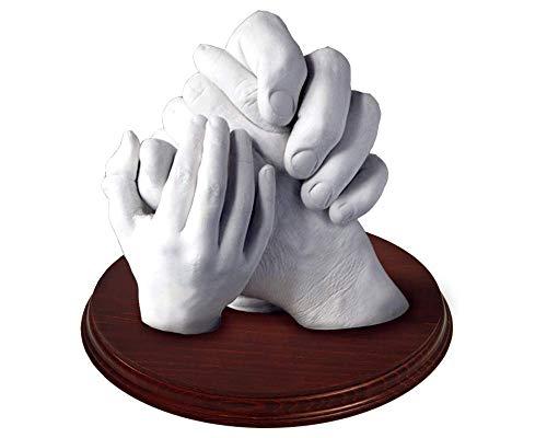 Las Huellas de tu Familia en 3D - Haz tus manos en 3D con tu familia - Escultura de mano realista, Manos Entrelazadas, Hasta 5 manos (PEANA INCLUIDA, todo el material incluido)