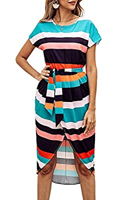 Material: Polyester + Cotton. Soft material, light and comfortable, a must-have women dress in your wardrobe. Feature: V-Neck With Belt, Geometric Pattern, Floral Print, Short Sleeves, Two Side Split. Trendy and chic womens dresses, make you look mor...