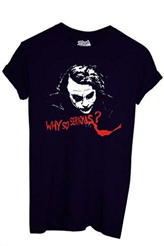 T-SHIRT DARK KNIGHT BATMAN JOKER WHY SO SERIOUS-FILM by MUSH Dress Your Style - Donna-XL-NERA