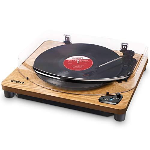 ION Audio Air Lp - Platine Vinyle Bluetooth à Trois Vitesses (33, 45 Et 78 Tours) avec Conversion Usb - Finition Bois