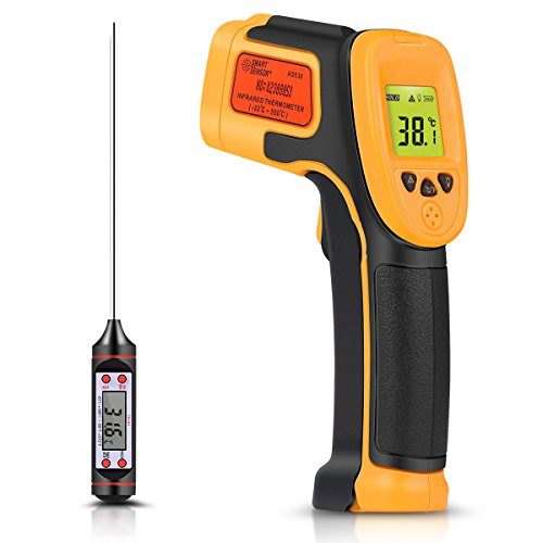 Infrared Thermometer, Digital IR Laser Thermometer Temperature Gun -26F~1022F (-32C550C) Temperature Probe Cooking/Air/Refrigerator - Meat Thermometer Included