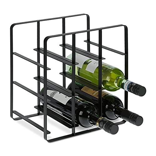 Relaxdays Cantinetta in Metallo, per 9 Bottiglie di Vino, Portabottiglie HLP 30,5 x 27,5 x 20 cm, Cucina e Salotto, Nero